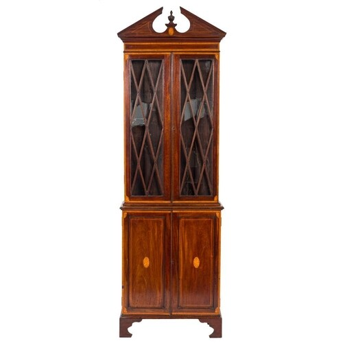 An Edwardian mahogany and inlaid upright display cabinet:, c...