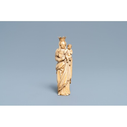 An ivory figure of a Madonna with child, probably France, 17...