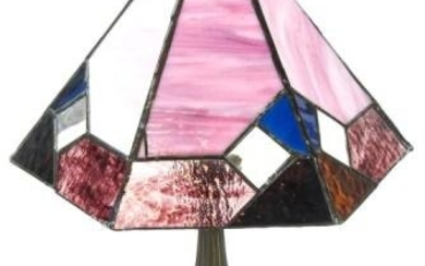 Arts & Crafts Style Table Lamp w Slag Glass Shade