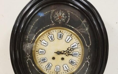BLACK LACQUERED VICTORIAN WALL CLOCK