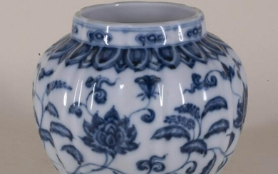 Blue and White Porcelain Lotus Jar with Mark