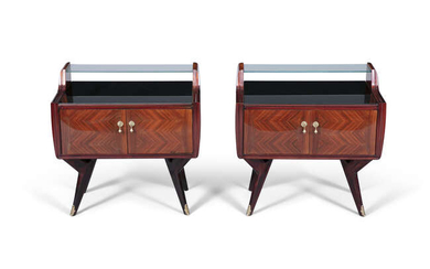 CABINETS A pair of rosewood bedside tables, with...