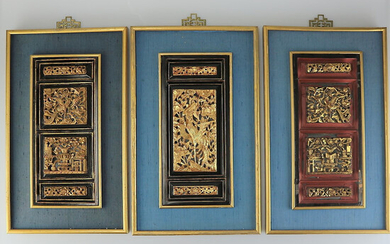 CHINESE CARVING, 3 PIECES, GOLD PLATED.