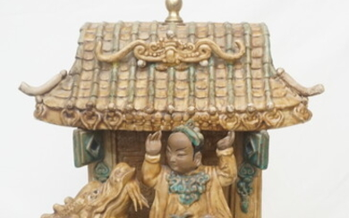 CHINESE HAND PAINTED POTTERY LAMP