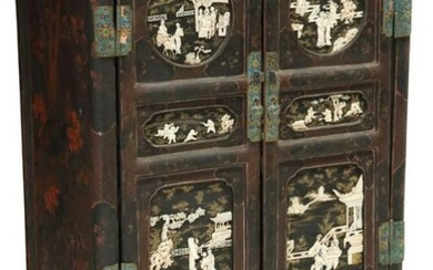 CHINESE LACQUER, CLOISONNE & APPLIED BONE CABINET