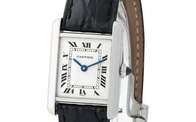 Cartier. Fine and Charming Tank Wristwatch in Platinum, Reference 1611-1 With Roman Black Numbers