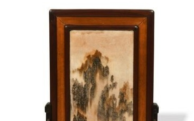 Chinese Hardwood Table Screen with Marble, 19th Century