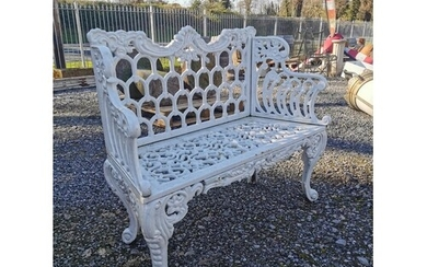 Decorative cast iron two seater garden bench {88 cm H x 107 ...