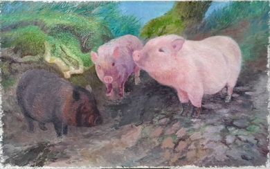 Denby Sweeting (1936-2020) Piglets and Goats with Chickens