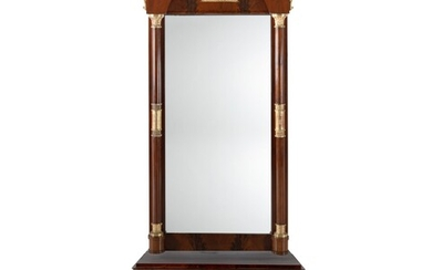 Early 19th C Swedish Mahogany Pier Mirror & Console Table. Arched mirror wi