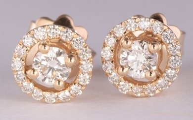 Earrings in 14kt gold with brilliant cut diamonds 0.65ct