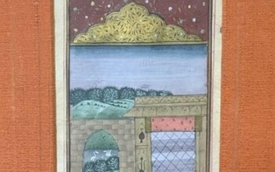 Indian Painting of Couple in Pavilion, Artrwork