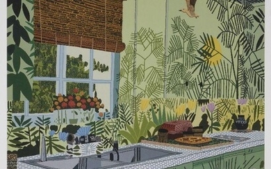 Jonas Wood, American b.1977- Jungle kitchen, 2017; offset lithographic poster in colours on wove, signed and dated 2021 in black marker, produced for the Interiors and Landscapes exhibition, David Kordansky Gallery, Los Angeles, sheet 61 x 45.7cm...