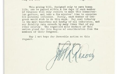 """(LABOR.) LEWIS, JOHN L. Typed Letter Signed, to """"the"""