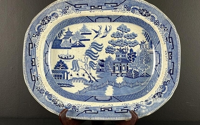 Large 19th C Staffordshire Blue Willow Platter