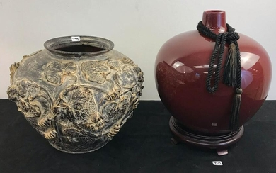 Large Red Oriental Vase On Stand, Plus Earthenware Pot