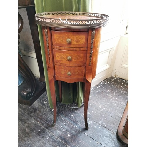 Late 19th. C. inlaid kingwood lamp table the top with pierce...