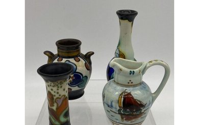 Lot Of 4 Collectible Gouda Dutch Pottery Vases & Pitche