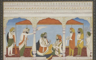 Maharaja Gulab Singh of Kashmir conversing with his son Raja Ranbir Singh in a palace pavilion, Punjab, India, 20th century, opaque pigments on paper, heightened with gold, the Maharaja shown seated with a dark blue bolster cushion behind him, with...