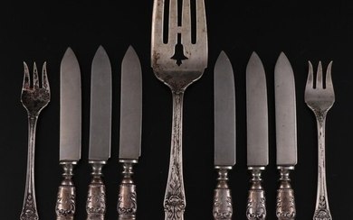 Manchester Sterling Silver Forks and Other Mother-of-Pearl Handled Fruit Knives