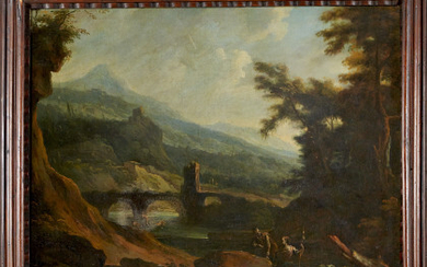 North Italian school, 18th century River landscape with shepherds and fishermen Oil on canvas, 68x81 cm. Framed (defects)Read more