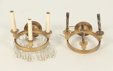 PAIR FRENCH EMPIRE STYLE BRASS AND CRYSTAL SCONCES