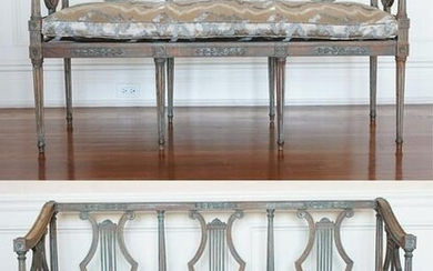 PAIR OF LOUIS XVI NEOCLASSICAL STYLE LYRE BENCHES