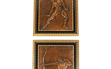 Pair Copper Mythological Relief Panels