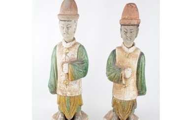 Pair of Antique Chinese green and amber lead-glazed pottery ...