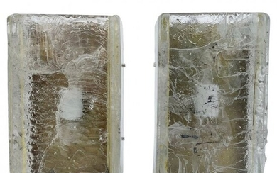 Pair of Brass & Murano Glass Style Wall Sconces