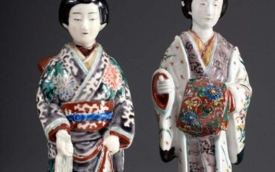 "Pair of Japanese porcelain figures ""Bijin"", polychrome painted, late Edo..."