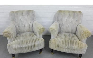 Pair of modern armchairs with upholstered in plush striped ...