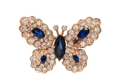 SAPPHIRE AND DIAMOND BUTTERFLY BROOCH