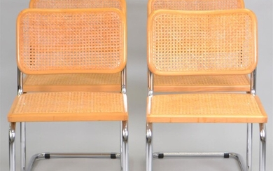 SET OF FOUR CANED CHROME SIDE CHAIRS AFTER MIES VAN DER ROHE
