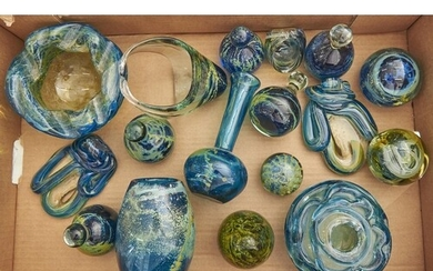 Seventeen Mdina glass vases, paperweights and objects, large...