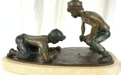Signed ED SLATER Bronze Boys Playing Marbles