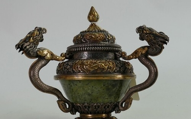 Silver coloured metal and jade Oriental covered vase: High q...