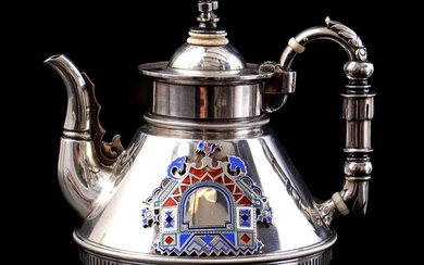 (-), Silver teapot, 835/1000, with enamelled decor, Russia...