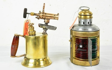 Small Ships Starboard / Port Light & Brass Blow Torch