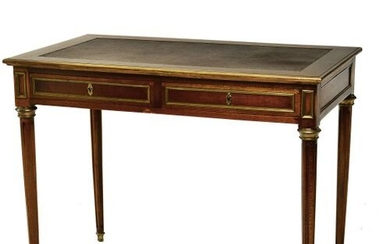 Small flat mahogany stained wood desk, opening with two drawers...