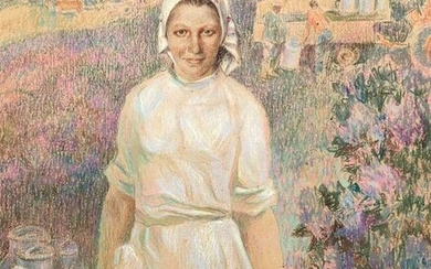 Social realism tempera painting Portrait of a milkmaid