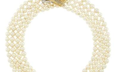 Sterlé Paris Four Strand Cultured Pearl Necklace with Two-Color Gold, Platinum and Diamond Clasp