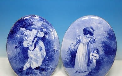 Two Royal Doulton flw blue oval Plaques, with designs of fig...