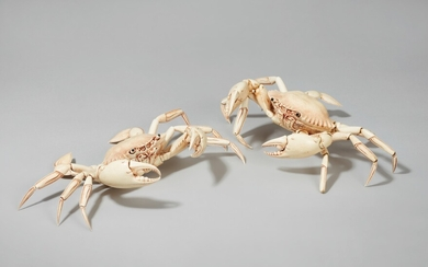 Two large ivory okimono of crabs. Late 19th/early 20th century