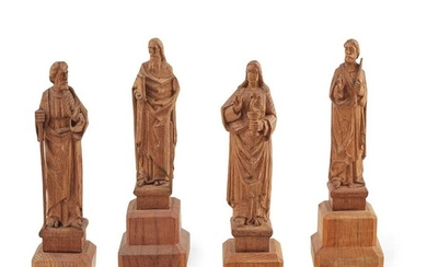 WILLIAM AND ALEXANDER CLOW, EDINBURGH (ATTRIBUTED MAKERS) GROUP OF FOUR ARTS & CRAFTS FIGURES, CIRCA 1915