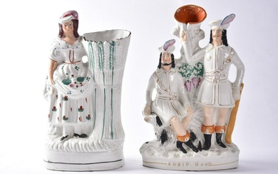 2 Antique Staffordshire Figures, Robin Hood and a Spill