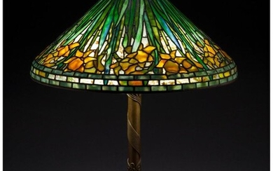 79039: Tiffany Studios Leaded Glass and Patinated Bronz