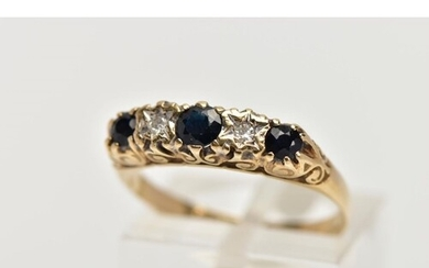 A 9CT GOLD SAPPHIRE AND DIAMOND HALF ETERNITY RING, designed...