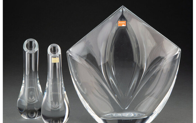 A Baccarat Giverny Vase and a Pair of Baccarat Clear Glass Bud Vases (late 20th century)