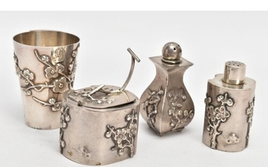 A CHINESE SILVER CONDIMENT SET, comprising a salt with clear...